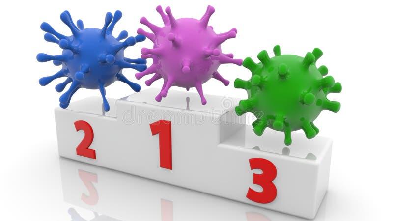 Τρεις ιοί στα διάφορα χρώματα στην εξέδρα στο άσπρο χρώμα απεικόνιση αποθεμάτων