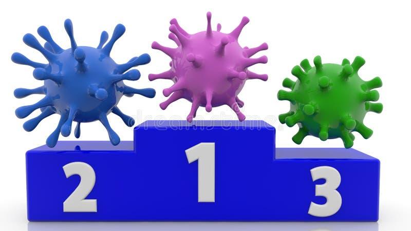 Τρεις ιοί στα διάφορα χρώματα στην εξέδρα στο μπλε χρώμα r απεικόνιση αποθεμάτων