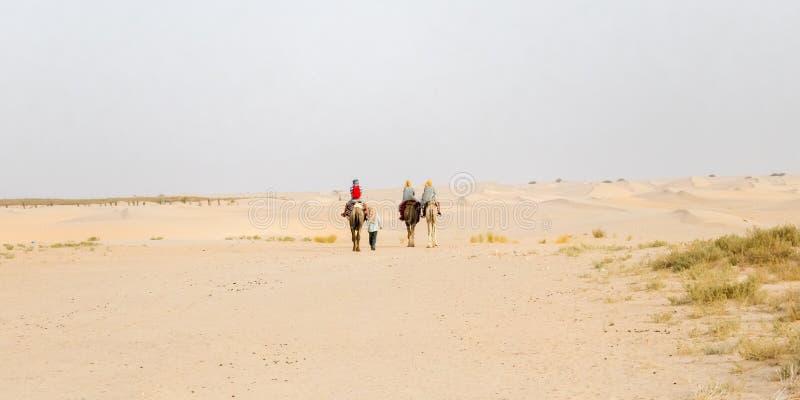 Τρεις καμήλες και τέσσερις άνθρωποι στην έρημο Σαχάρα, Τυνησία στοκ φωτογραφία με δικαίωμα ελεύθερης χρήσης