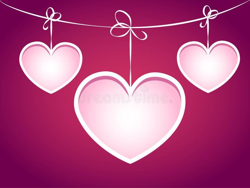 Τρεις καρδιές που κρεμούν σε μια συμβολοσειρά. διανυσματική απεικόνιση