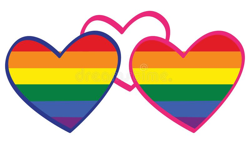 Τρεις καρδιές του συμβόλου σημαιών LGBT ουράνιων τόξων του γένους συνέχεια απεικόνιση αποθεμάτων