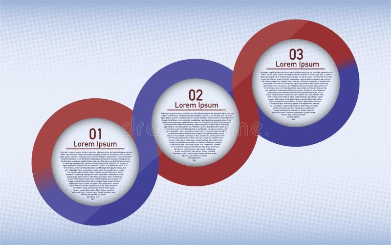 Τρεις κυκλικός infographic βημάτων απεικόνιση αποθεμάτων