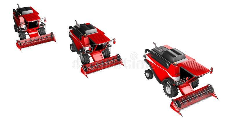 Τρεις κόκκινες θεριστικές μηχανές σίτου που απομονώνονται στο άσπρο υπόβαθρο - καλλιεργήστε το όχημα, βιομηχανική τρισδιάστατη απ διανυσματική απεικόνιση