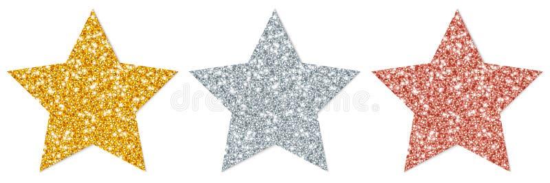Τρεις λαμπιρίζοντας χρυσός ασημένιος χαλκός αστεριών ελεύθερη απεικόνιση δικαιώματος