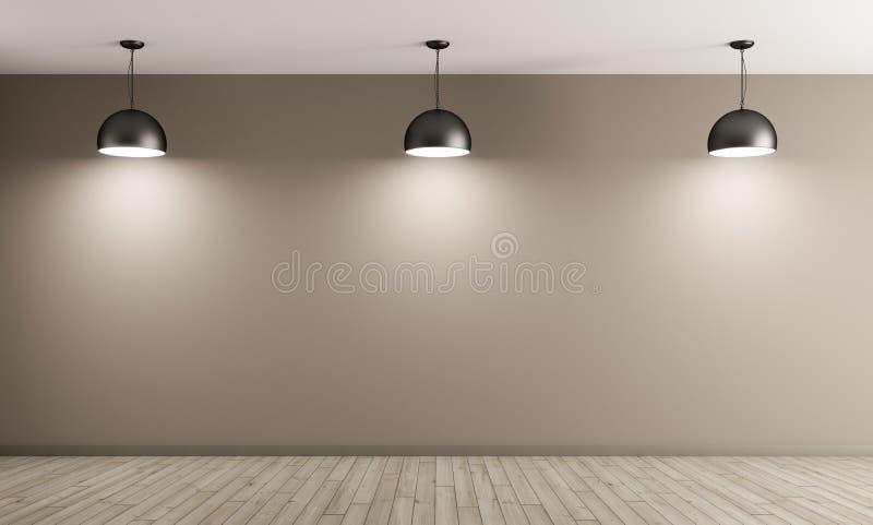 Τρεις μαύροι λαμπτήρες μετάλλων πέρα από την μπεζ τρισδιάστατη απόδοση τοίχων διανυσματική απεικόνιση