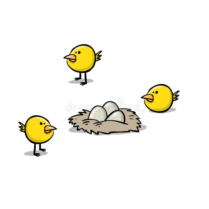 Τρεις μικροί κίτρινοι νεοσσοί και τρία μικρά αυγά ελεύθερη απεικόνιση δικαιώματος