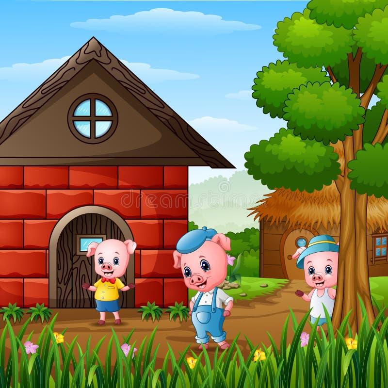 Τρεις μικροί χοίροι παίζουν έξω από το σπίτι διανυσματική απεικόνιση