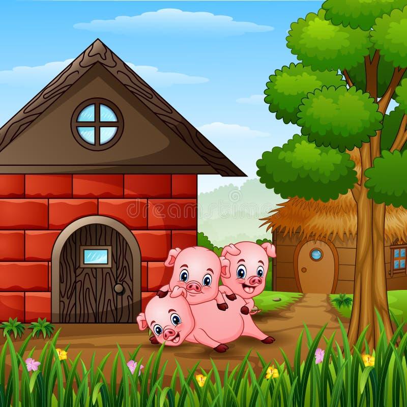 Τρεις μικροί χοίροι παίζουν στο αγρόκτημα απεικόνιση αποθεμάτων