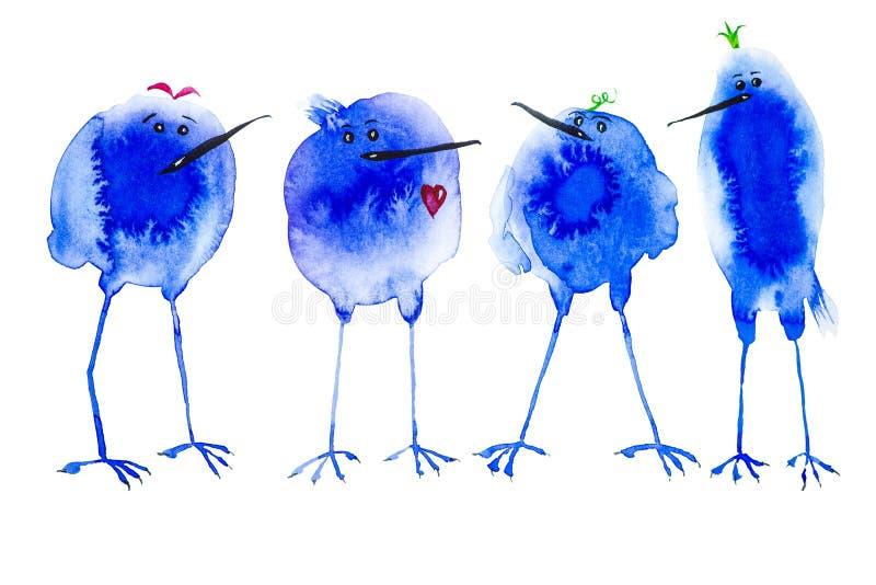Τρεις μπλε αφηρημένοι λεκέδες πουλιών εξετάζουν τα πουλιά με μια κόκκινη καρδιά Αφηρημένη απεικόνιση watercolor που απομονώνεται  διανυσματική απεικόνιση