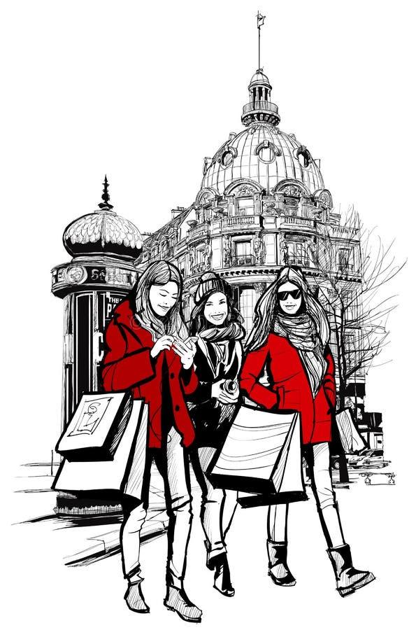 Τρεις νέες μοντέρνες γυναίκες που ψωνίζουν στο Παρίσι διανυσματική απεικόνιση