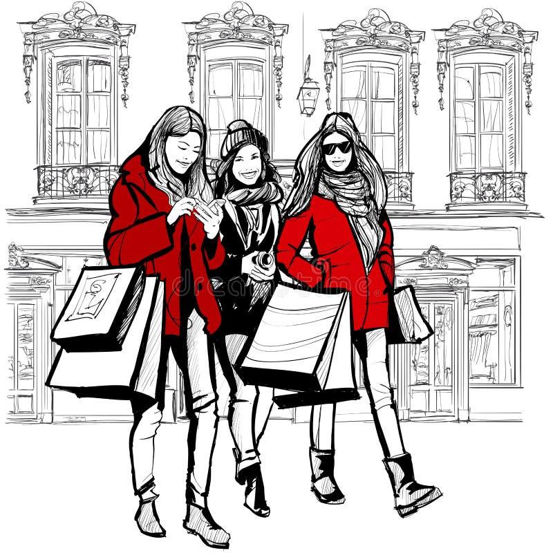 Τρεις νέες μοντέρνες γυναίκες που ψωνίζουν στο Παρίσι απεικόνιση αποθεμάτων