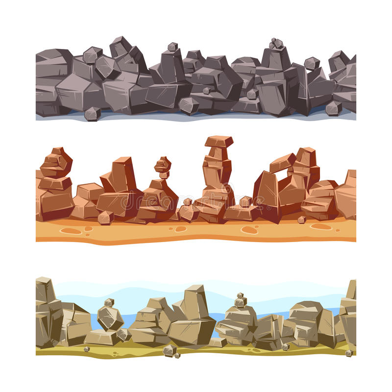 Τρεις οριζόντιος άνευ ραφής δύσκολος, τοπίο βουνών για το ενδιάμεσο με τον χρήστη παιχνιδιών Διανυσματικό σύνολο απεικόνισης κινο διανυσματική απεικόνιση