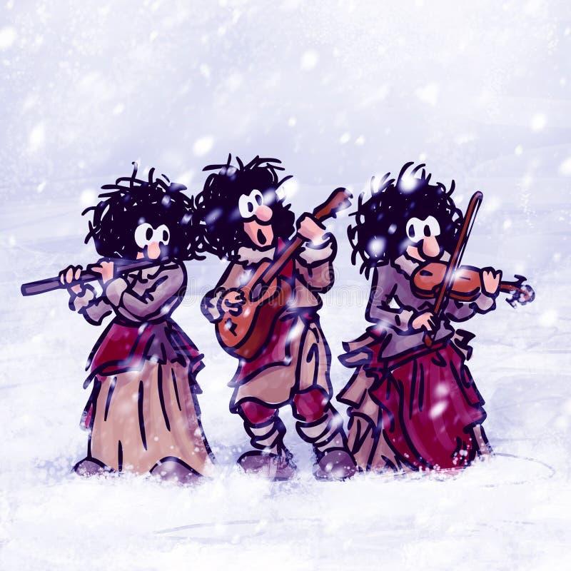 Τρεις περιπλανώμενοι μουσικοί παίζουν μουσική, χειμώνα, χιόνι απεικόνιση αποθεμάτων
