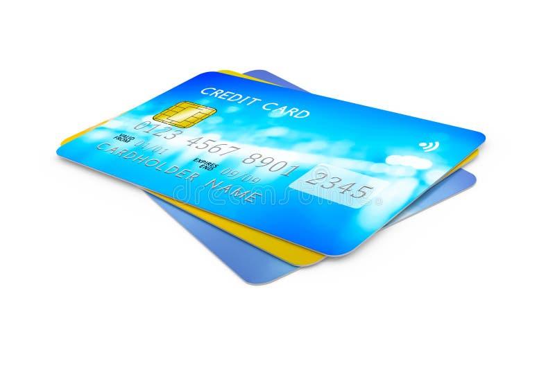 Τρεις πιστωτικές κάρτες για την πληρωμή ελεύθερη απεικόνιση δικαιώματος