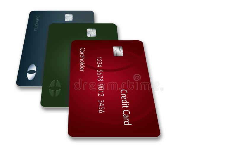 Τρεις πιστωτικές κάρτες πετούν τη σκιά τους σε αυτήν την τρισδιάστατη απεικόνιση των καρτών που αιωρούνται πέρα από μια άσπρη επι απεικόνιση αποθεμάτων