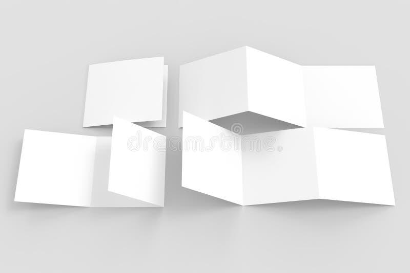 Τρεις πτυχές - trifold τετραγωνική χλεύη φυλλάδιων που απομονώνεται επάνω σε μαλακό ελεύθερη απεικόνιση δικαιώματος