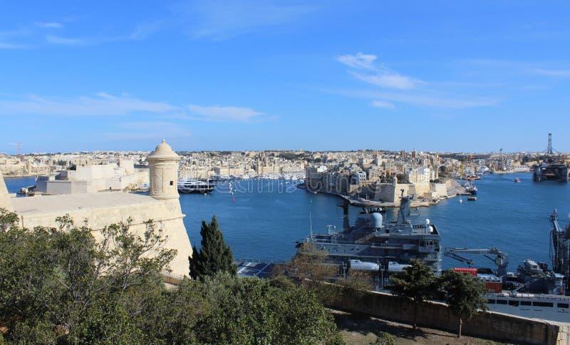 Τρεις πόλεις όπως βλέπει από Valletta, Vittoriosa, Senglea, Cospicua, Μάλτα στοκ φωτογραφία