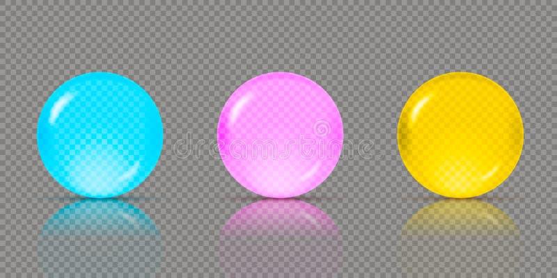 Τρεις ρεαλιστικές διαφανείς σφαίρες ή σφαίρες στις διαφορετικές σκιές των μπλε, ρόδινων και κιτρινοπράσινων χρωμάτων με τις ανταν διανυσματική απεικόνιση