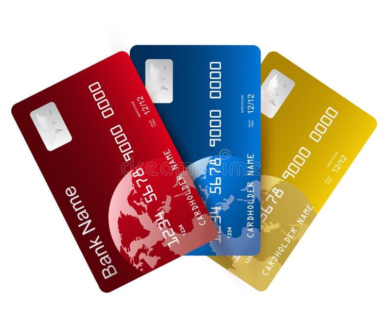 Τρεις ρεαλιστικές πιστωτικές κάρτες - διάνυσμα ελεύθερη απεικόνιση δικαιώματος