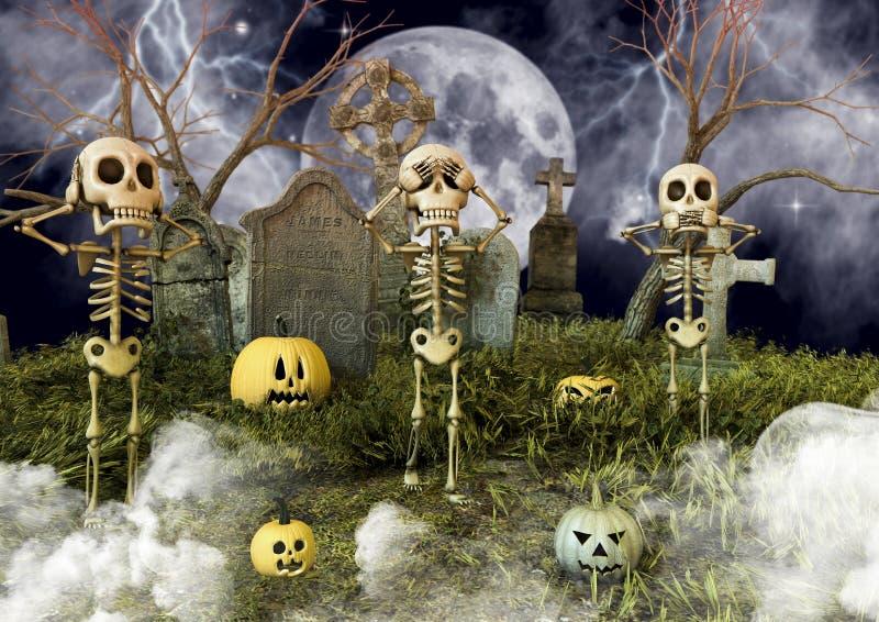 Τρεις σκελετοί που κάνουν τις χειρονομίες να μην δει κανένα κακό, ακοή κανενός κακού, που δεν μιλά κανένα κακό σε ένα νεκροταφείο διανυσματική απεικόνιση