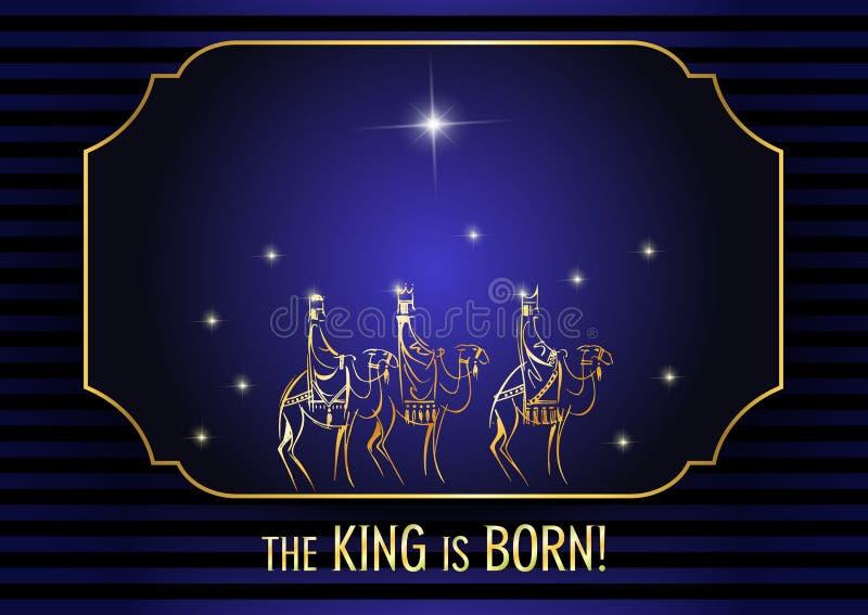 Τρεις σοφοί άνθρωποι επισκέπτονται το Ιησούς Χριστό μετά από τη γέννησή του διανυσματική απεικόνιση