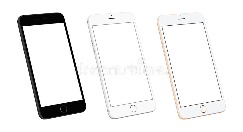 Τρεις σύγχρονες κινητές τηλεφωνικές συσκευές στη isometric, δευτερεύουσα θέση ελεύθερη απεικόνιση δικαιώματος