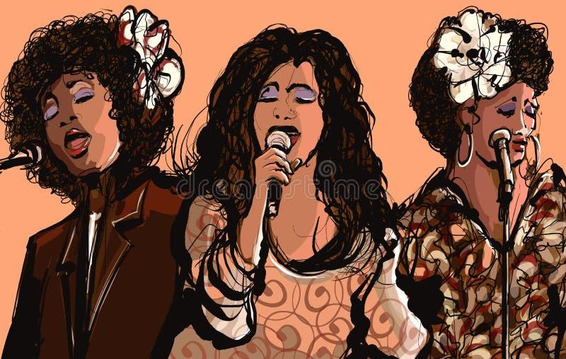 Τρεις τραγουδιστές τζαζ γυναικών διανυσματική απεικόνιση