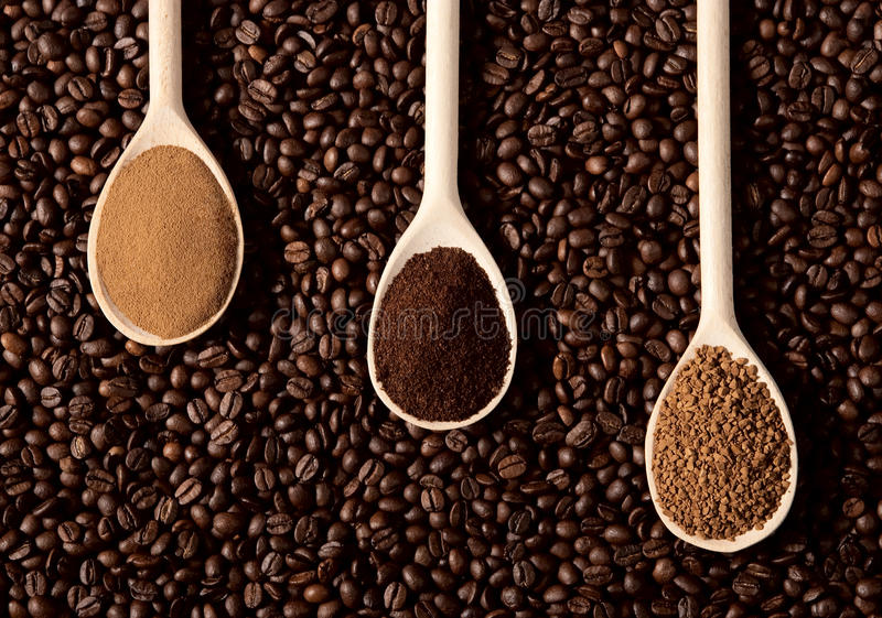Τρεις τύποι καφέδων στοκ φωτογραφία με δικαίωμα ελεύθερης χρήσης