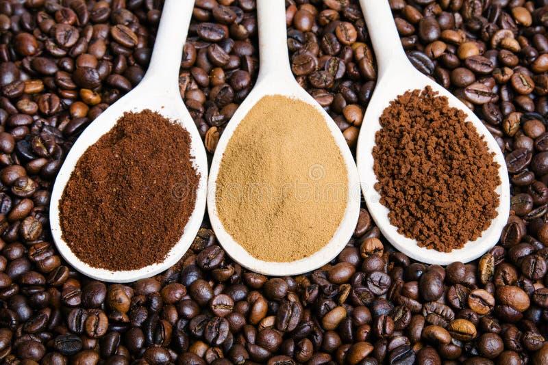 Τρεις τύποι coffe στοκ φωτογραφία