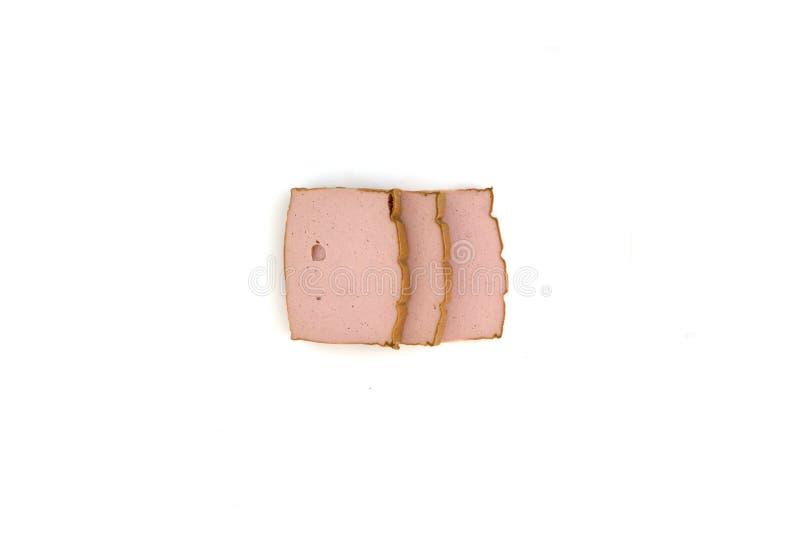 Τρεις φέτες του τυριού συκωτιού στοκ εικόνες με δικαίωμα ελεύθερης χρήσης