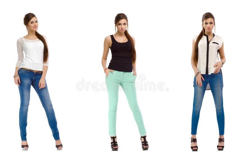 Τρεις φωτογραφίες ενός νέου περιστασιακού όμορφου κοριτσιού μόδας στοκ εικόνες