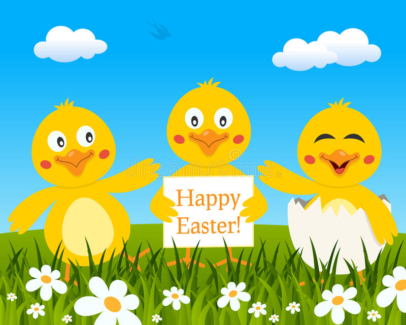Τρεις χαριτωμένοι νεοσσοί που επιθυμούν ευτυχές Πάσχα ελεύθερη απεικόνιση δικαιώματος