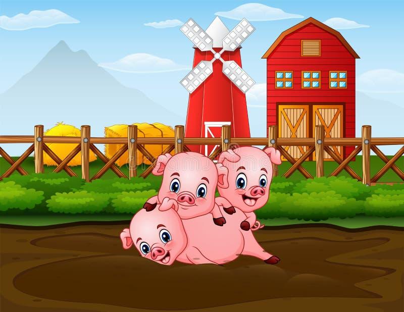 Τρεις χοίροι που παίζουν στο αγρόκτημα με το κόκκινο υπόβαθρο barnhouse ελεύθερη απεικόνιση δικαιώματος