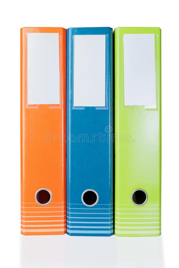 Τρεις χρωματισμένες γραμματοθήκες για το γραφείο γραφείου. στοκ εικόνα