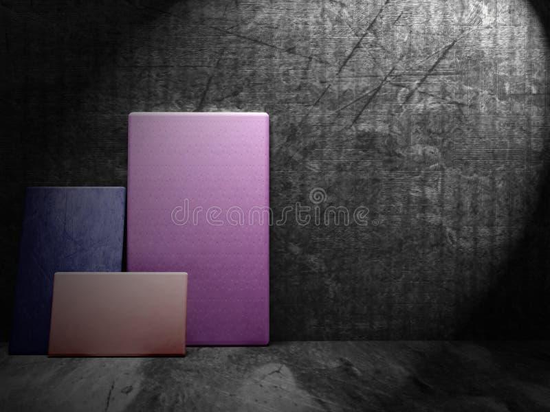 Τρεις χρωματισμένες εικόνες στο πάτωμα, τρισδιάστατο απεικόνιση αποθεμάτων