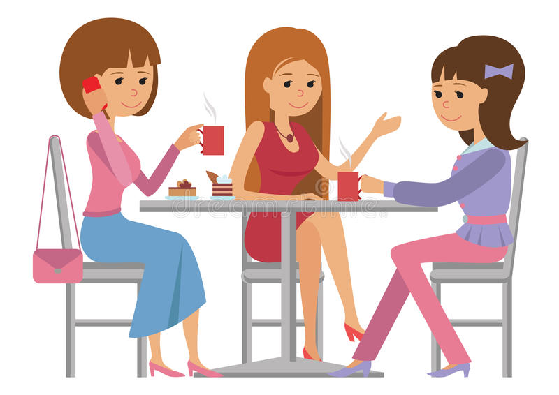 Τρεις όμορφες γυναίκες που μιλούν στη καφετερία πίνοντας τον καυτό καφέ διανυσματική απεικόνιση