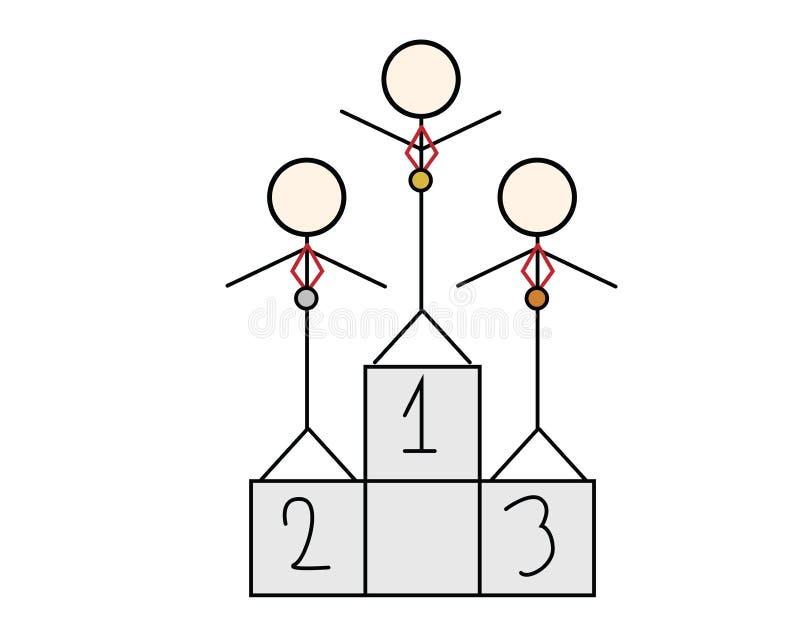 Τρεις stickman αριθμοί με τα μετάλλια που στέκονται σε μια εξέδρα διανυσματική απεικόνιση