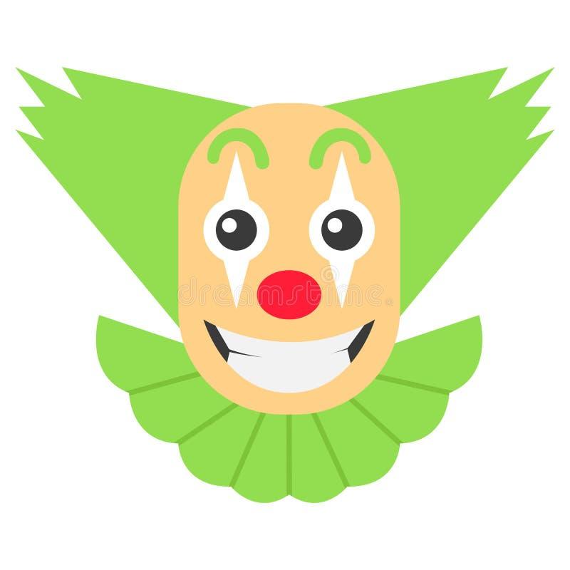 Τρελλά κινούμενα σχέδια κλόουν με την πράσινη τρίχα και το μεγάλο χαμόγελο διανυσματική απεικόνιση
