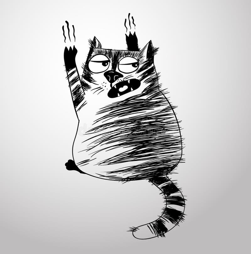 Τρελλή γάτα στον τοίχο ελεύθερη απεικόνιση δικαιώματος