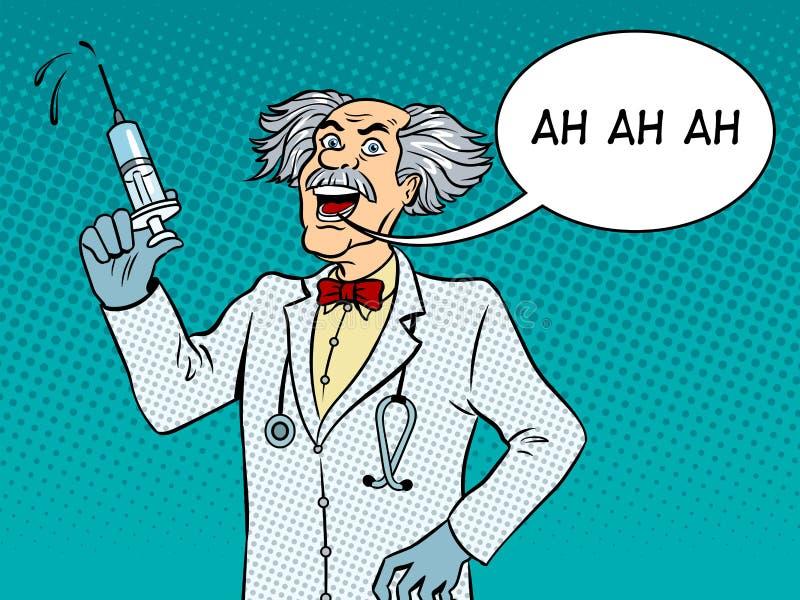 Τρελλός γιατρός με το λαϊκό διάνυσμα τέχνης συρίγγων ελεύθερη απεικόνιση δικαιώματος