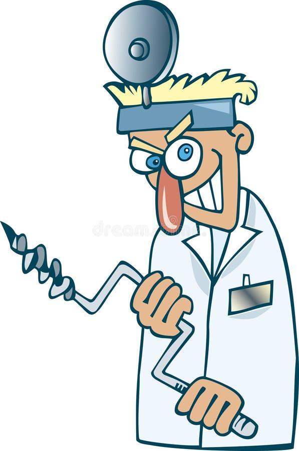 τρελλός οδοντίατρος διανυσματική απεικόνιση