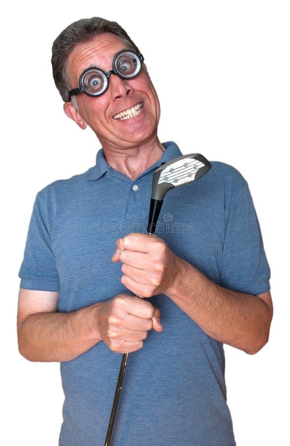 τρελλός παίκτης γκολφ γ&ka στοκ εικόνα