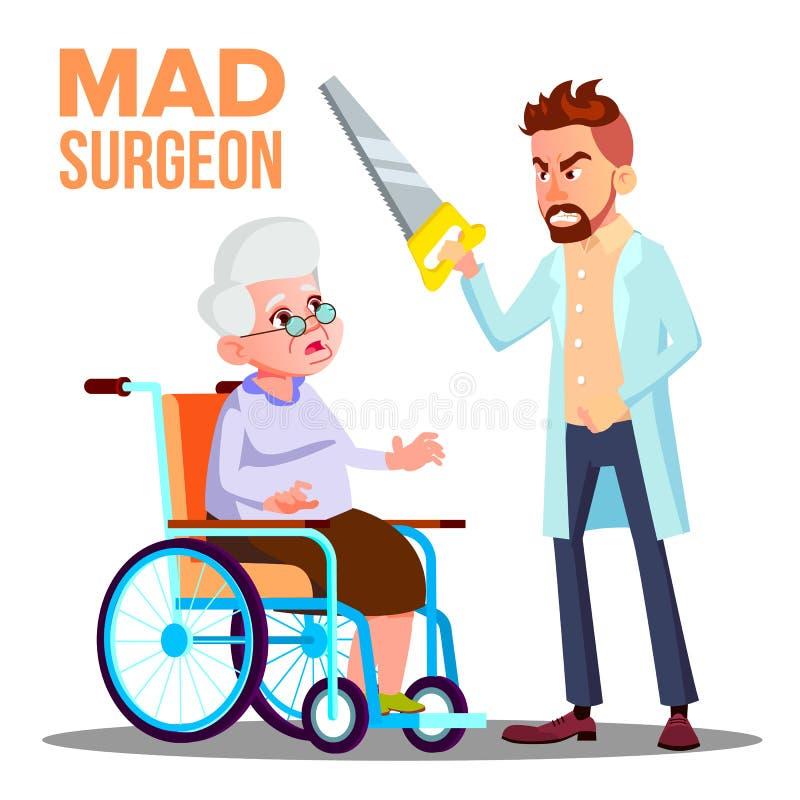Τρελλός χειρούργος γιατρών με ένα πριόνι διαθέσιμο και φοβησμένη υπομονετική ηλικιωμένη γυναίκα στο διάνυσμα αναπηρικών καρεκλών  ελεύθερη απεικόνιση δικαιώματος