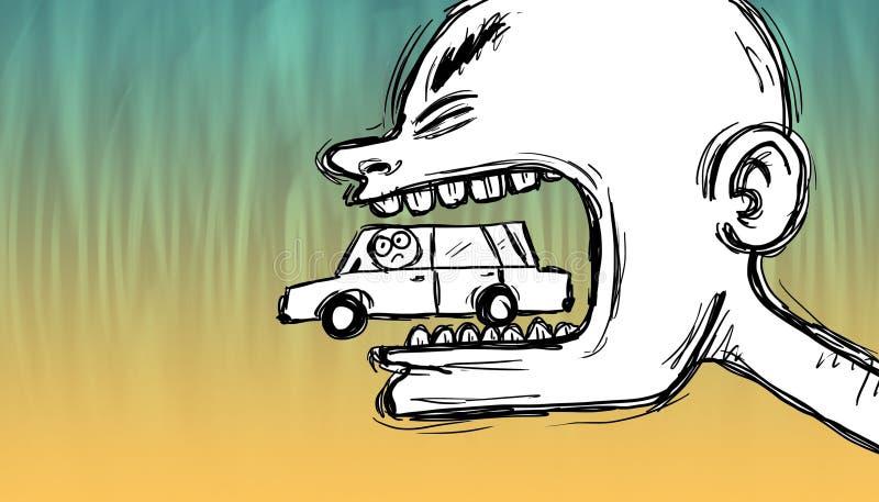 Τρελλό άτομο που μασά ένα αυτοκίνητο διανυσματική απεικόνιση