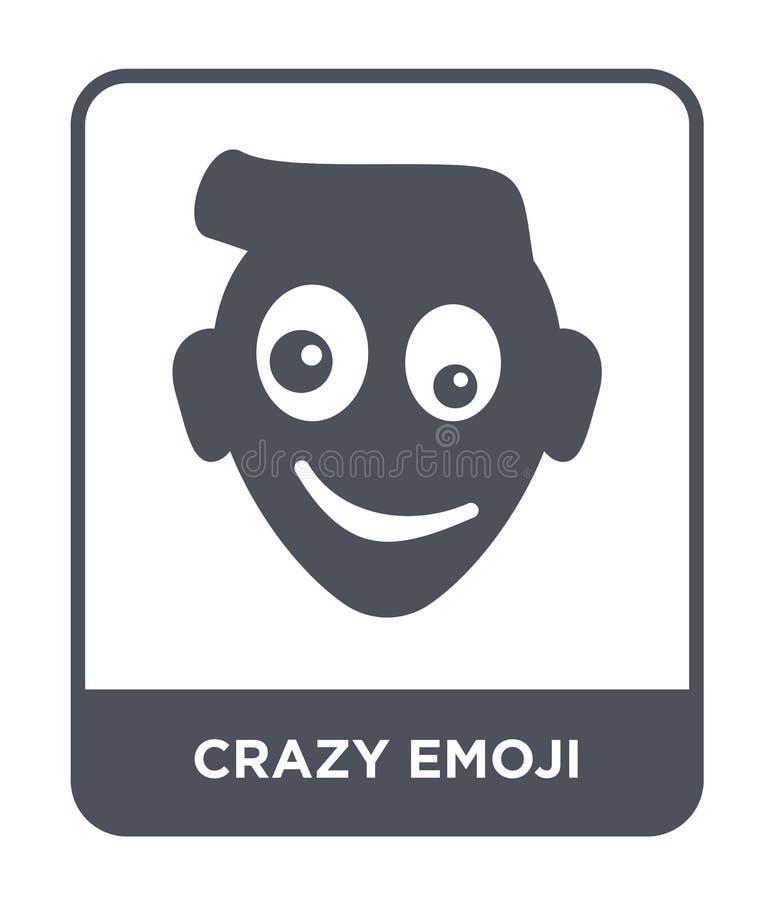 τρελλό εικονίδιο emoji στο καθιερώνον τη μόδα ύφος σχεδίου τρελλό εικονίδιο emoji που απομονώνεται στο άσπρο υπόβαθρο τρελλό διαν απεικόνιση αποθεμάτων
