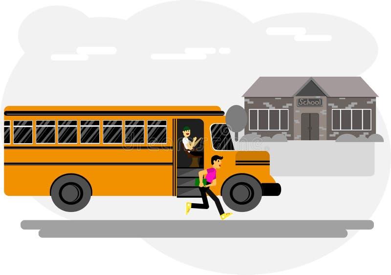 Τρεξίματα αγοριών στο σχολείο, που παίρνει από το λεωφορείο, σχολείο, σχολικό ναυπηγείο ελεύθερη απεικόνιση δικαιώματος