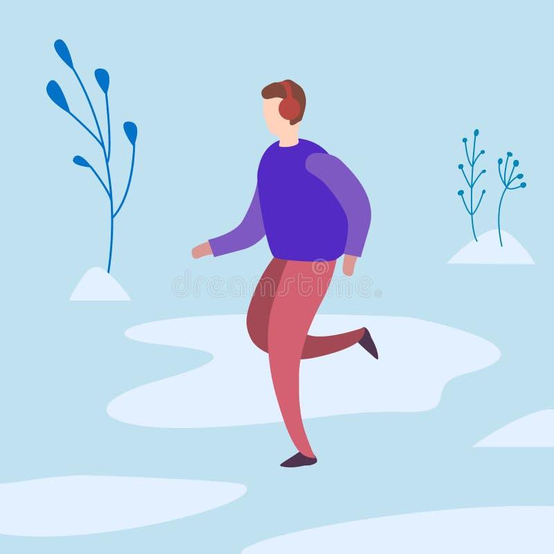 τρεξίματα ατόμων το χειμώνα στο πάρκο επίσης corel σύρετε το διάνυσμα απεικόνισης απεικόνιση αποθεμάτων