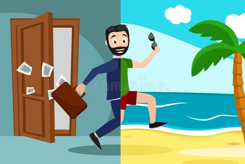 Τρεξίματα επιχειρηματιών από το γραφείο στην παραλία ελεύθερη απεικόνιση δικαιώματος