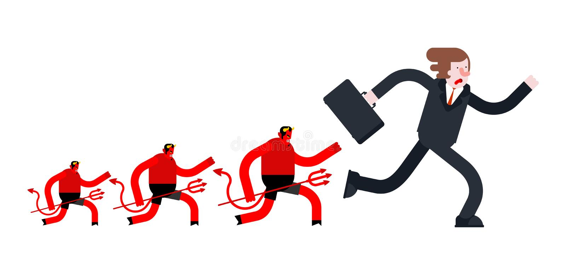 Τρεξίματα επιχειρηματιών μακρυά από το διάβολο Η Satan τρέχει μετά από τον προϊστάμενο διανυσματική απεικόνιση