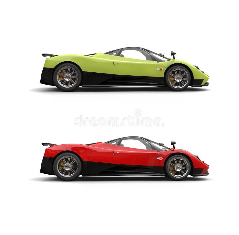 Τρελλά πράσινα και κόκκινα αθλητικά έξοχα αυτοκίνητα μανίας - πλάγια όψη απεικόνιση αποθεμάτων